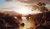 Village paintings - Landscape with Waterfall by Frederic Edwin Church