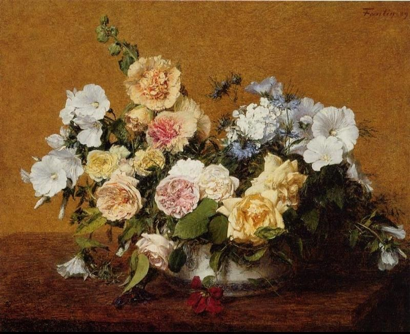 Henri Fantin-Latour Bouquet of Roses and Other Flowers Painting ...