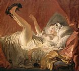 Jean-Honore Fragonard Young Woman Playing with a Dog painting