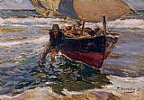 Beach paintings - Beaching the Boat (study) by Joaquin Sorolla y Bastida