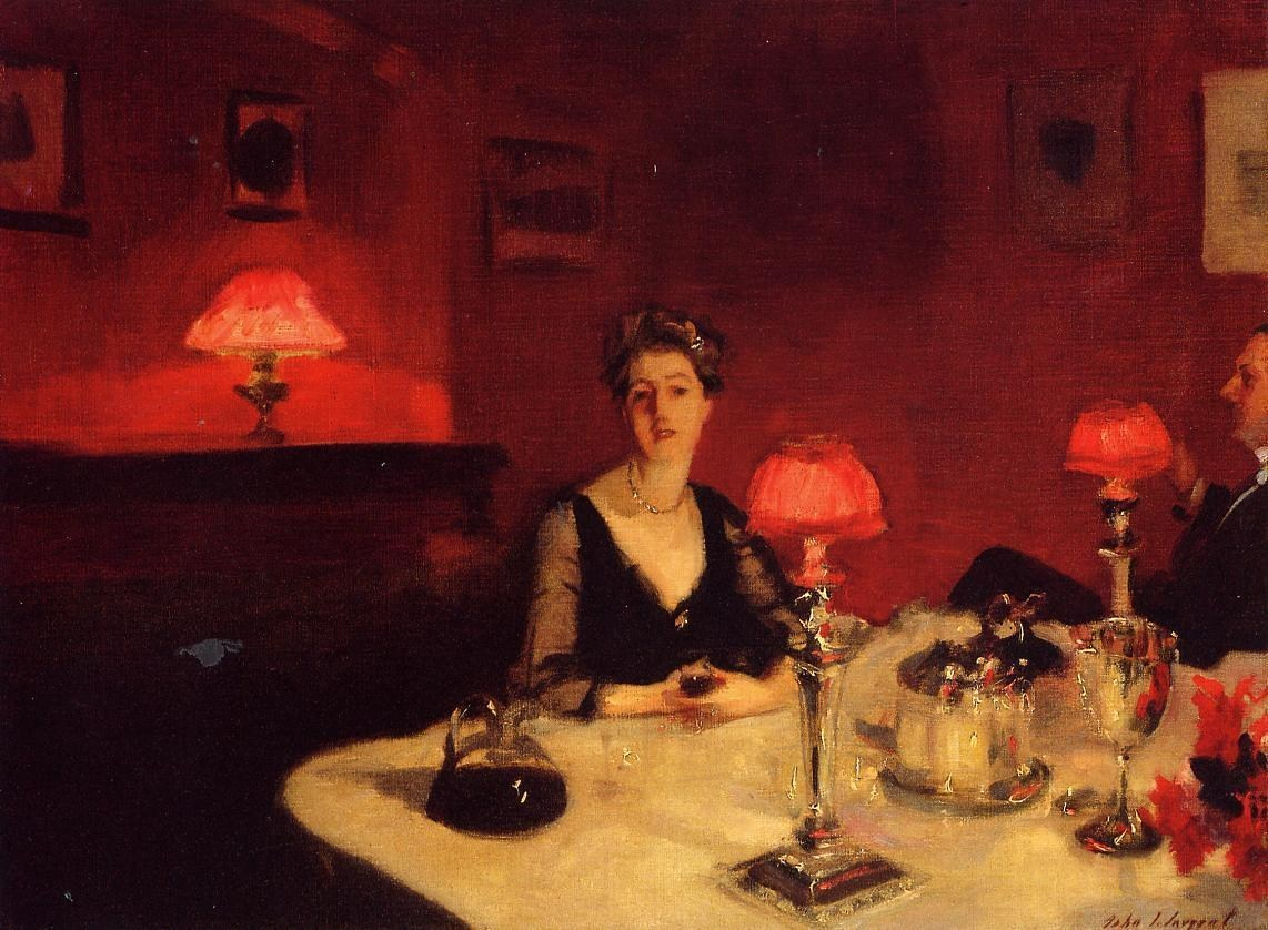 John Singer Sargent A Dinner Table at Night