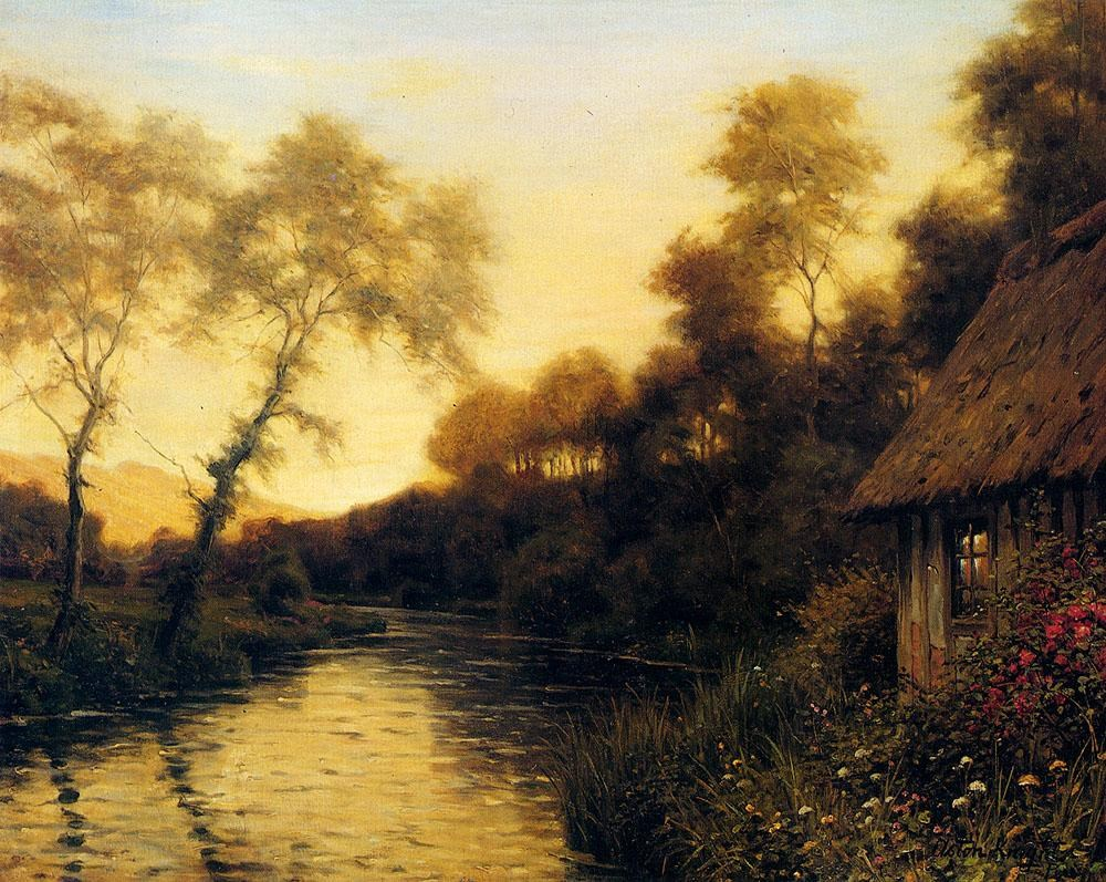 Louis aston knight a french river landscape at sunset for Famous prints for sale