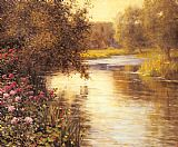 Louis Aston Knight Spring Blossoms along a Meandering River painting