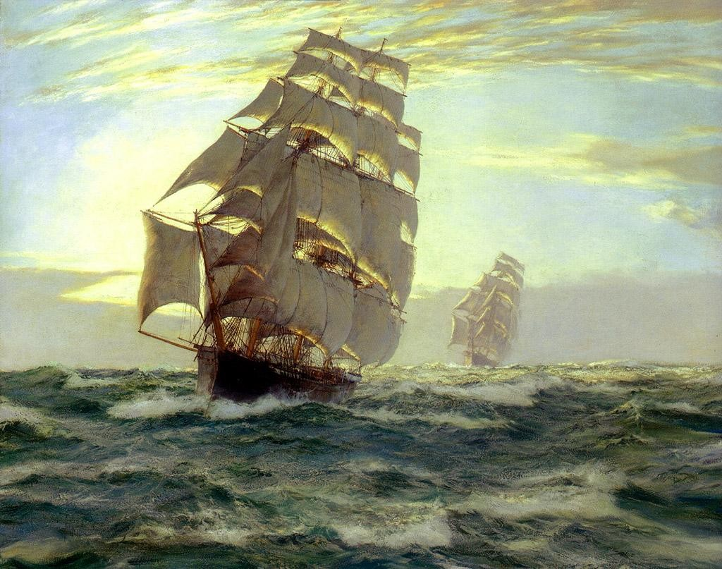 Montague dawson the flying cloud painting best paintings for Big artwork for sale