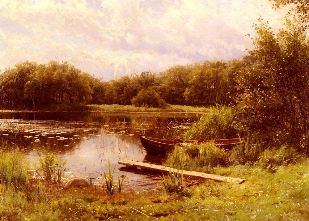 Peder Mork Monsted A Boat Moored On A Quiet Lak