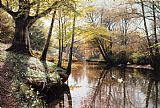 Peder Mork Monsted A River Landscape in Springtime painting