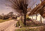 Peder Mork Monsted Cottages At Hjornbaek painting