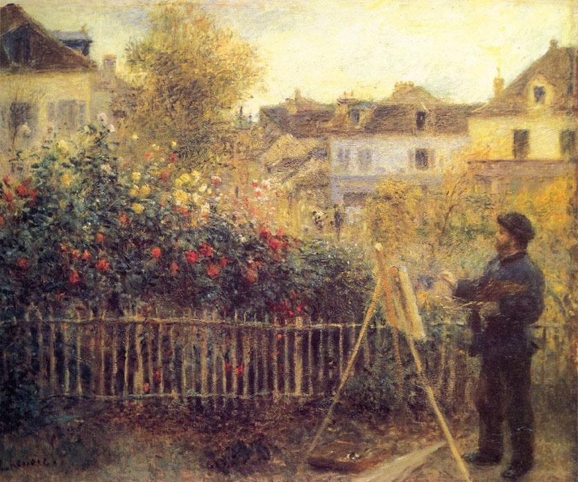 Pierre Auguste Renoir Claude Monet Painting in his Garden at Argenteuil