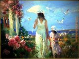 Pino Mother And Child at The Sea painting