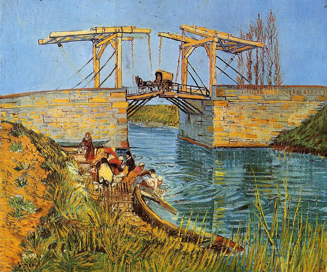 Vincent van Gogh The Langlois Bridge at Arles with Women Washing
