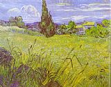 Vincent van Gogh Green Wheat Field with Cypress. Saint-Remy painting