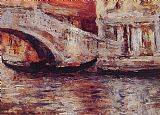 William Merritt Chase Gondolas Along Venetian Canal painting