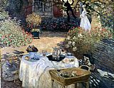 Garden paintings - Monet The Luncheon by Claude Monet