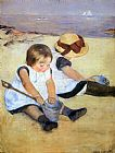 Beach paintings - Children Playing On The Beach by Mary Cassatt